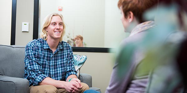student in counseling clinic