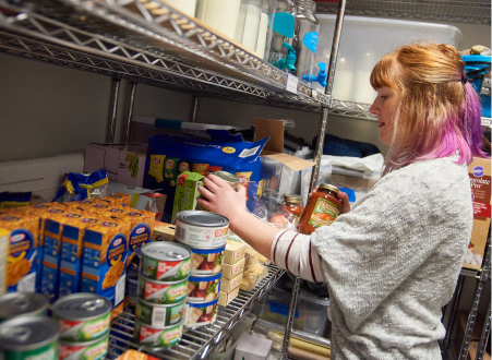 Student in food pantry