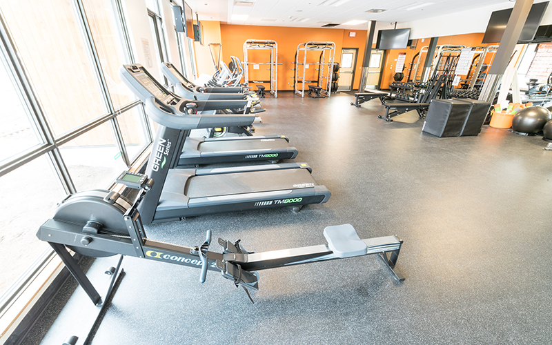 Fitness center is located in the residence hall