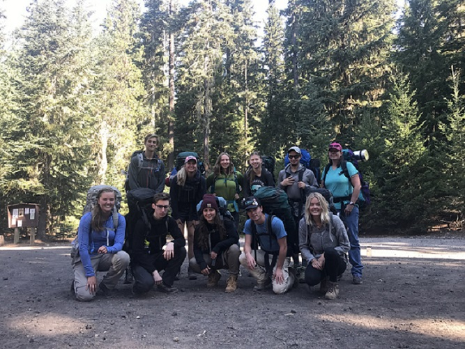 Students departing for 3 days of backpacking