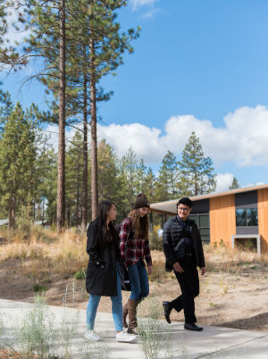 students walking on OSU-Cascades campus in Bend