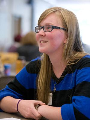 smiling female freshman student