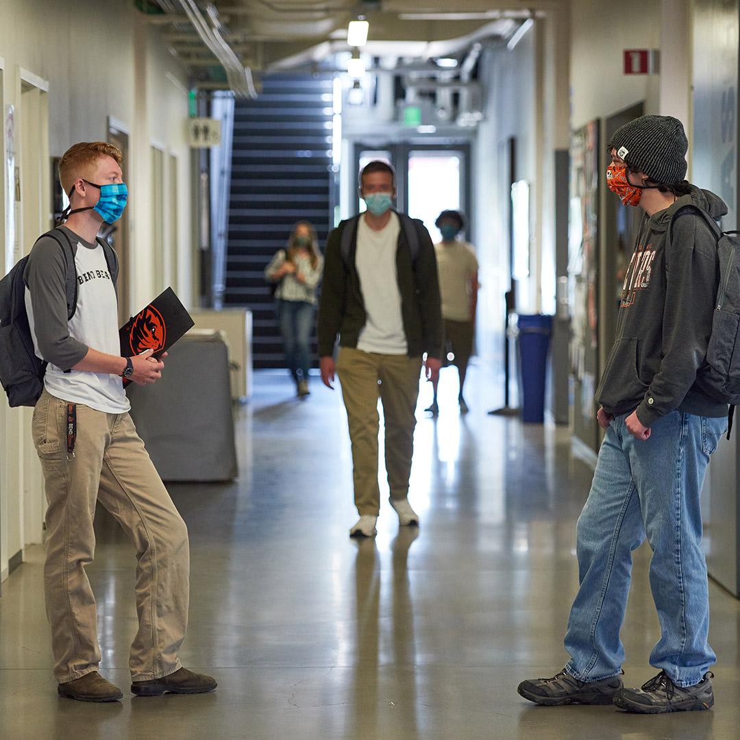 new students in hallway