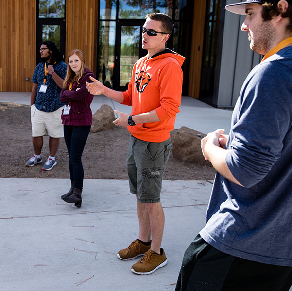 Student giving a tour of campus
