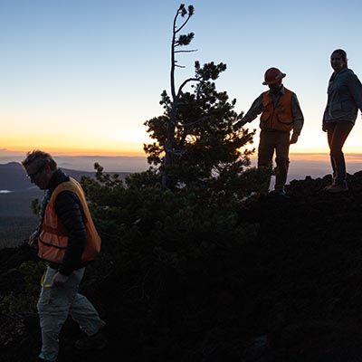 White pine researchers on top of tumalo mountain